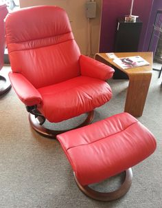 Sunrise Recliner in Paloma Chilli Red. Available at Scanhome Furnishings in Green Bay.