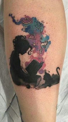 This is a really cool tattoo. I like the shadow with the images coming out of the book