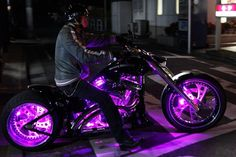 motorcycle with purple glow...