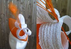 Orange sinamay fascinator, Sequined swirls, peacock feather BY TINA WHITE (WHITEBEA MILLINERY) #millinery #hats #HatAcademy