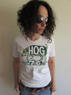 Vintage Pig Hog 70s White and Green T shirt by FunkyOldSoul