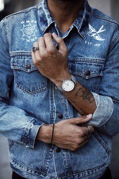 mens inspiration   mens outfit  mens watch   jeans jacket   picture by erikforsgren