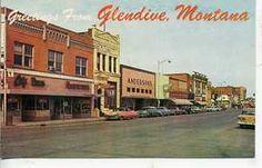 1950's CARS GLENDIVE MONTANA DOWNTOWN POSTCARD STORES