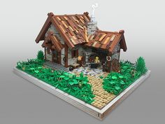 The blacksmith shop is surely one of the most frequently built medieval LEGO structures beside castles, of course. And this wonderfully detailed shop by Sebastian Bachórzewski looks so peaceful I like to believe this blacksmith is busily making swords into ploughshares. It's hard to understand why he looks so grumpy… maybe he just hit his …