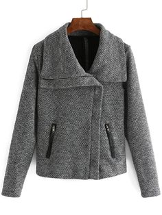 Shawl Collar Zipper Grey Coat 20.67