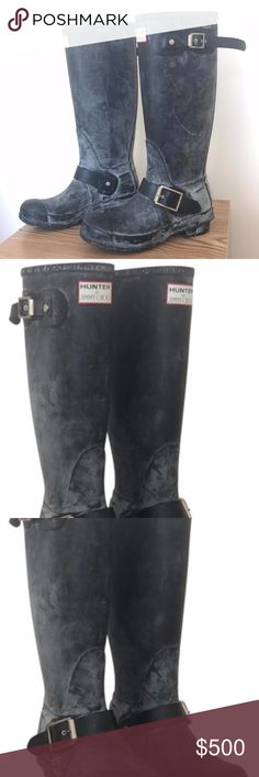 Hunter Jimmy Choo Welly Rubber Rain Boots HUNTER AND JIMMY CHOO Welly Rubber Rain Boots Size: US 8  Regular (M, B) Item #: 22236258 Price: $527.86   Shipping Included Retail Price: $1,500.00  CONDITION Like New This item may have been worn but has no visible signs of wear.   DESCRIPTION Leopard Lining  Logo-etched buckles gleam on a weather-ready rain boot finished with a grippy lugged sole. Pull-on style. Approx. boot shaft he Hunter Shoes Winter & Rain Boots