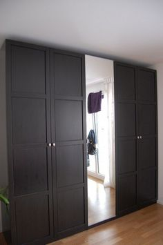 ikea pax wardrobes used as built in closets just frame with drywall addition ideas. Black Bedroom Furniture Sets. Home Design Ideas