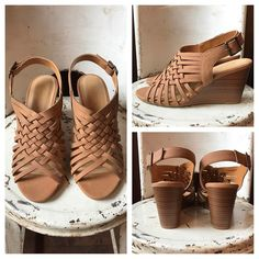 """✨✨ NEW ✨✨ tan strappy summer ☀️ wedge $36 ..5.5-10  Comment to hold for pick up 🛍…"""""""