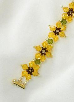Handmade Beaded Sunflower bracelet Swarovski by LS4Swarovski