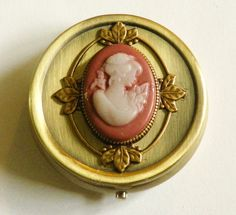Antiqued Gold Pill or Treasure Box with by CameoObsession on Etsy, $17.00