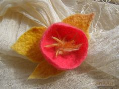 Summer yellow and pink round shape exotic flower brooch by LanAArt