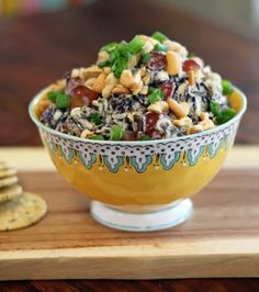 This Wild Rice Salad with Chicken and Grapes is sure to become a family favorite! Serve it with crackers or on a bed of lettuce.