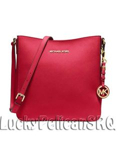 MICHAEL Michael Kors Jet Set Travel Large Saffiano Crossbody Bag Chili Red NWT #MichaelKors #MessengerCrossBody