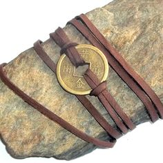 Chinese Coin Leather Wrap Bracelet Adjustable earthegy on Etsy, $28.00