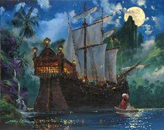"""Hook's Cove"" by James Coleman - Original Artwork, stunning.makes my heart melt Disney Pixar, Disney Films, Disney Villains, Disney And Dreamworks, Walt Disney, Thomas Kinkade Disney, Disney Love, Disney Magic, Peter Pan Art"