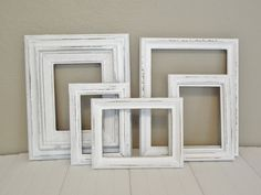 Paris Chic Shabby Painted Distressed White Frame Collection Wall French Decor. $45.00, via Etsy.