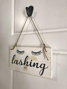 Lashing Wood Sign Eyelashes Sign Salon Decor Salon Wood - April 20 2019 at Eyelash Studio, Eyelash Salon, Eyelash Regrowth, Eyelash Extensions Salons, Lash Lounge, Esthetics Room, Painted Vanity, Lash Room, Beauty Salon Decor