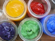 homemade flubber glibber glitsch  1 cup corn starch, 5 cups water, food colors and glitter. Bring starch and water to a boil until it gets a little glibberish and divide into five mason jars and set up with the colors of your choice. Add some glitz to it by adding some glitter.