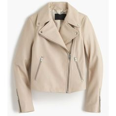 J.Crew Collection Leather Motorcycle Jacket (12,165 MXN) ❤ liked on Polyvore featuring outerwear, jackets, coats & jackets, lined leather jacket, pink moto jackets, asymmetrical zip jacket, pink biker jackets and biker jacket