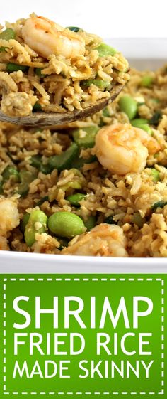 Shrimp Fried Rice Made Skinny. What a wonderfully healthy version of shrimp fried rice. Each serving has 275 calories, fat & 7 Weight Watchers POINTS PLUS Low Calorie Recipes, Ww Recipes, Seafood Recipes, Asian Recipes, Cooking Recipes, Healthy Recipes, Healthy Foods, Points Plus Recipes, Healthy Weight