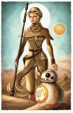 Star Wars The Force Awakens - Rey & BB-8 by Chrissie Zullo