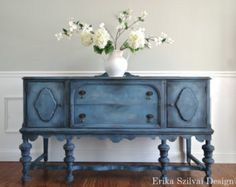 CUSTOM Order for Christine - Hand Painted Cottage Chic Shabby Romantic Vintage Victorian Jacobean Antique Blue Sideboard Buffet Repurposed Furniture, Shabby Chic Furniture, Vintage Furniture, Shabby Chic Sideboard, Upcycled Furniture Before And After, Antique Buffet, Antique Cabinets, Vintage Buffet, Antique Sideboard