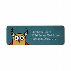 Tax Day Deal - 10.40% Off ALL Orders!   Use Code: TAXDAYDEALIO   Ends Monday  Funny Cartoon Horned Owl Custom Return Address Label