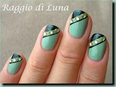 Raggio di Luna Nails: Triple green manicure with rhinestones