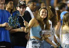 A UCLA student fan during a college football game between the Texas A&M Aggies and the UCLA Bruins on September 03, 2017 at the Rose Bowl in Pasadena, CA