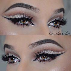 Glamour with glitter!  @lavender.olive @lavender.olive @lavender.olive ✨✨… #cutcreaseeyeshadows #GlitterEyeshadow