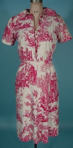"""1940's/early 1950's GILBERT ADRIAN ORIGINAL Raspberry Red Toile Print Dress  Measures: up to 37"""" bust, up to 28"""" waist, up to 37"""" hips, 43"""" long from shoulder to hem (with 3"""" extra hem). Side metal zipper.  This dress is in great condition with the exception of a few minor light spots here and there (only one spot is even worth mentioning - see photos).  It also may have been hemmed up at some point.  1485"""