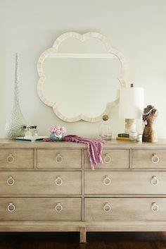 Karen B Wolf Interiors - bedrooms - Made Goods Fiona Mirror, 8 drawer dresser, made goods mirror, decorative bust, alabaster lamp,  Chic bedroom