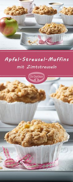 streusel Apple crumble muffins: Apple muffins with cinnamon sprinkles # Biscuits Muffin Recipes, Baking Recipes, Cookie Recipes, Snack Recipes, Dessert Recipes, Cupcake Recipes, Apple Crumble Muffins, Cinnamon Crumble, Apple Crisp Recipes