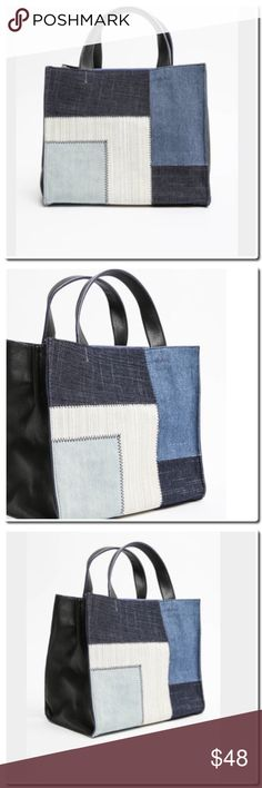 "Denim Patchwork Mini Tote Details Who says denim has to stay on your body? From Un Billion, this mini tote bag takes denim dressing to a whole new level with its denim patchwork shell, center zip compartment, dual easy access pockets, velvet interior lining, and gold hardware zipper.   Mini tote bag Denim patchwork outer Gold hardware Center zip compartment Easy access main compartments Leather drop handles and side panels Measures approximately 9""l x 10""w x 6""d 4"" drop Bags Totes"
