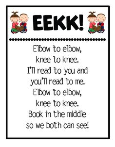 Teach your students this little chant.  Learn to say it every day until it becomes the mantra for partner reading.