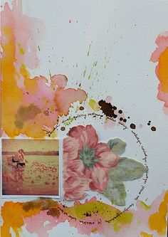 mustard and pink... mixed media by immacola