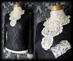 Gothic Black Cream Lace Bib Detail GOVERNESS High Neck Blouse Top 8 10 Victorian - £29.99