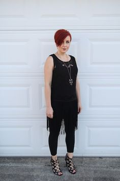Thrift and Shout blog: lace, fringe, cute outfit of the day, maternity, pregnancy, dressing the bump, 22 weeks, fashion, style, rocker, all black, Forever 21 necklace, Prabal Gurung for Target heels, lace up heels, leggins, red hair, asymmetrical haircut, Jane Iredale makeup, short hair, petite, Forever 21 cross necklace
