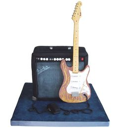 Guitar And Amp Cake cakepins.com Guitar Birthday Cakes, Guitar Cake, Boy Birthday, Music Themed Cakes, Music Cakes, Microphone Cake, Piano Cakes, Rock Star Party, Bolo Fake