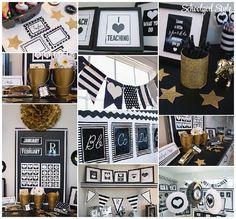 I HEART SCHOOL by Schoolgirl Style www.schoolgirlstyle.com black white gold stripes polka dots classroom school theme decor decorations