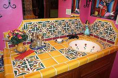 Tiled Countertop Vanity, Mexican Home Decor Gallery. Mission Accesories, Copper Sinks, Mirrors, Tables And More