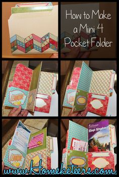 Could this be adapted to hold the new tracts? How to Make a Mini Pocket Folder Organizer with a Manilla File Folder. Super easy just use colorful designer file folders instead of scrapbook paper Mini Albums, Mini Scrapbook Albums, Scrapbook Cards, Envelope Scrapbook, Envelope Book, My Planner Colibri, Pop Up Karten, Folder Organization, Diy Organization