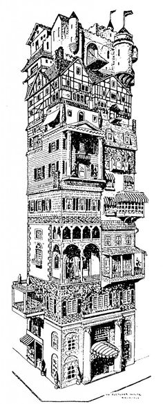 1920 fantasy depicting a cooperative apartment house built according to the owners' individual tastes.