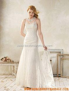 Robe de mariée sirène col montant application dos nu