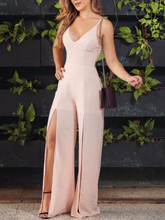 Solid Plunge Lace-Up Back Slit Leg Jumpsuit Girl Fashion, Fashion Dresses, Womens Fashion, Fashion Design, Beautiful Outfits, Cute Outfits, Casual Outfits, Workwear Fashion, Look Chic