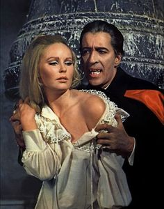 Veronica Carlson, known for her work in the Hammer horror films, is celebrating her 69th birthday today! Pictured here with Christopher Lee from Dracula Has Risen from the Grave (1968).