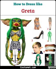 Gizmo has brown and white fur, as well as huge brown eyes and giant ears. Greta has scaly green skin and ultra-red lips, and she wears a leopard-print two-piece outfit. Brown Vest, Brown Pants, Halloween Party Costumes, Cool Costumes, Gremlins Costume, Cartoon Male, Scary Pumpkin Carving, Plain White Shirt, Green Wig