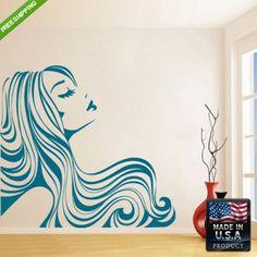 Wall Decal Mural Sticker Beautyfull Girl Hair Bedroom (z096) on Etsy, $32.83 CAD