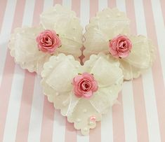 Wedding Lace Heart Shabby Pink Handmade Paper Rose Flower