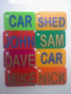 Named acrylic key rings cut on laser cutter